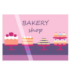 flat design restaurant bakery shop facade icon vector image