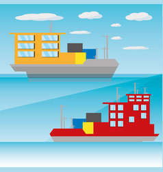 Freight ship navigating in the ocean vector
