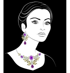 Girl with jewelery vector image vector image
