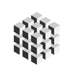 grey geometric cube of 27 smaller isometric cubes vector image vector image