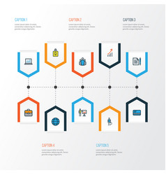job colorful outline icons set collection of bank vector image
