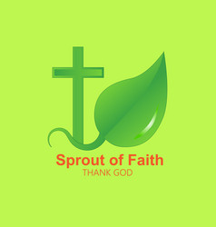 Logo cross and sprout vector