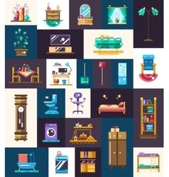 Modern flat design domestic furniture interior vector image