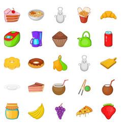 Nosh icons set cartoon style vector