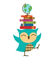 Owl with stack of books vector image