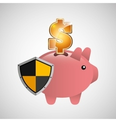 Piggy banking safe shield protection vector