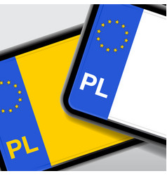 Poland number plate vector
