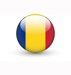 Round icon with national flag of Romania vector image vector image