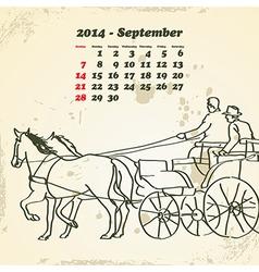 September 2014 hand drawn horse calendar vector image