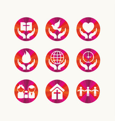 Set of christian symbols vector