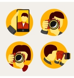 Set of modern style photographer icons vector image vector image