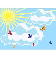 Sky with sun clouds and butterflies vector image vector image