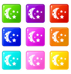 Starry night icons 9 set vector