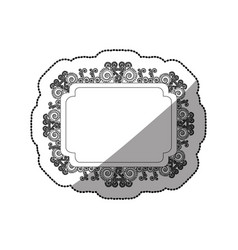 Sticker monochrome curved rectangle vintage vector