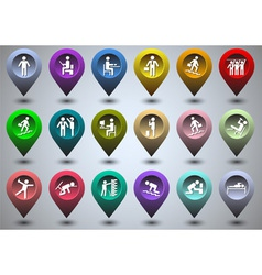 Symbolic life form of colorful GPS icons vector image vector image