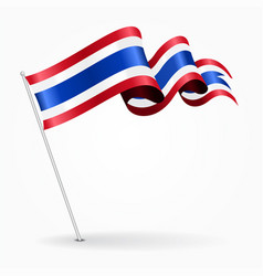 Thai pin wavy flag vector