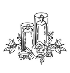 Vintage burning candle and rose flower romantic vector