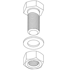 Stainless steel bolt and nut vector