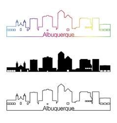 Albuquerque skyline linear style with rainbow vector