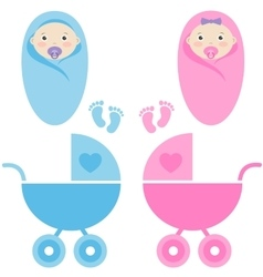 baby girl baby boy and baby carriage vector image