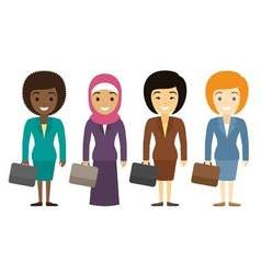 Businesswomen characters of different ethnicity in vector