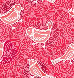 Decorative seamless with flowers and birds vector