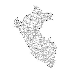 Map of peru from polygonal black lines and dots vector