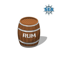 brown barrel of rum on white background vector image