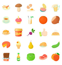 Afternoon snack icons set cartoon style vector