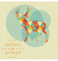Vintage christmas card with reindeer snowflakes vector image
