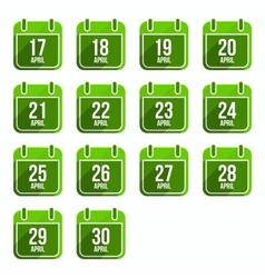 April flat calendar icons Days Of Year Set 14 vector image