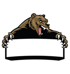 grizzly bear hold the blank sign vector image