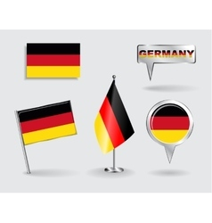 Set of german pin icon and map pointer flags vector