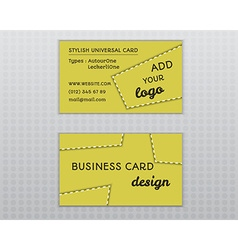 Summer yellow stylish business card and visiting vector