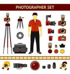 Set of photographer icons - cameras tripod vector