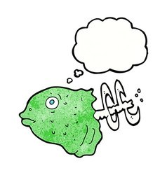 Cartoon fish head with thought bubble vector