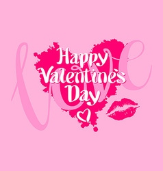 Happy valentines day love heart red pink kiss vector