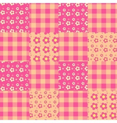 seamless patchwork pattern pink vector image