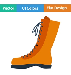 Flat design icon of hiking boot vector image