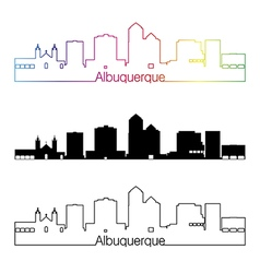 Albuquerque skyline linear style with rainbow vector