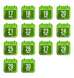 April flat calendar icons Days Of Year Set 14 vector image