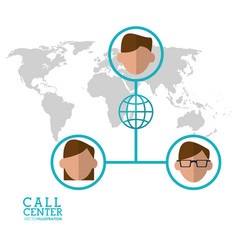 Call center character global world connection vector