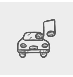 Car with music sketch icon vector