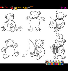 Cartoon bear characters set coloring book vector