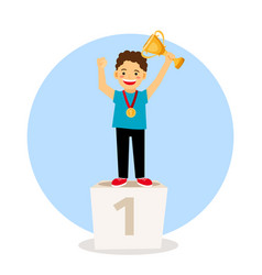 child young winner podium vector image