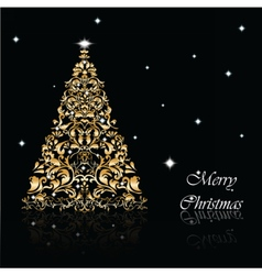 Christmas Tree set in goldon black vector image vector image