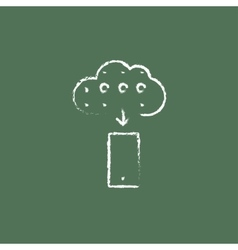 Cloud computing icon drawn in chalk vector image vector image