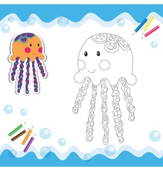Coloring book jellyfish vector