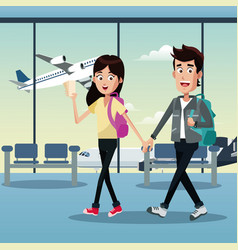 Couple traveler tickets airport vector