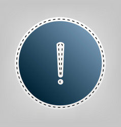 Exclamation mark sign blue icon with vector